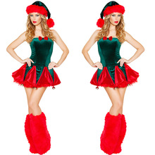 Women Green Christmas Tree Costume Women New Sexy Dress Xmas Halter Party Dresses Sexy Christmas Dress Helloween Suit  B-3805