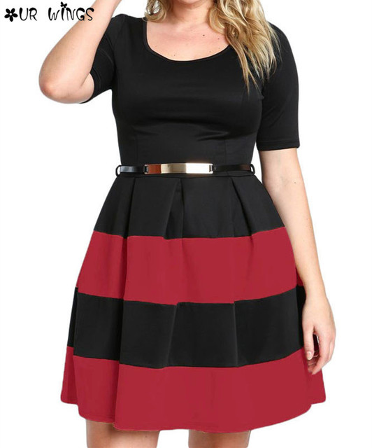 OURWINGS Office Ladies Dresses Fall Patchwork White Stripes Detail Belted  Plus Size Skater Dress Vestido Work Clothing-in Dresses from Women\'s ...