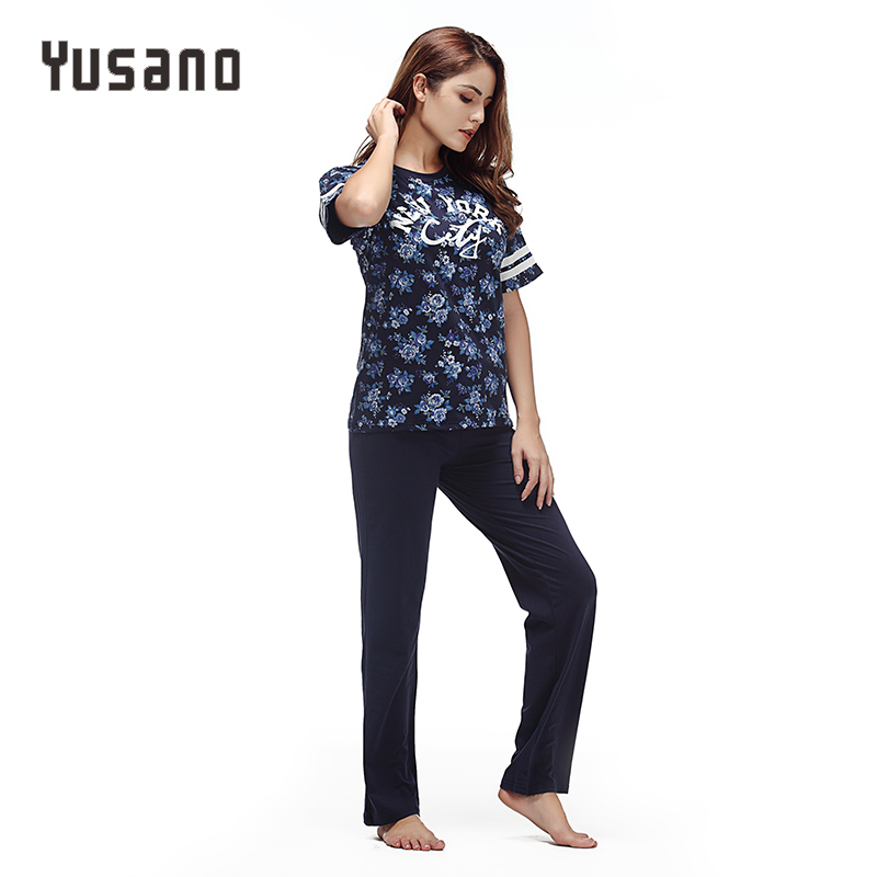 Yusano 2017 Summer Women's Pajamas Cotton Stripe Sleepwear O-neck Short Sleeve Print Home Clothes Pijama Unicornio Adult Pajamas