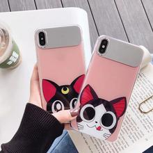 IMIDO Fashion Cat Anti-fall Mirror Silicone PC Cases For Huawei p20 pro p30 mate20 Cartoon