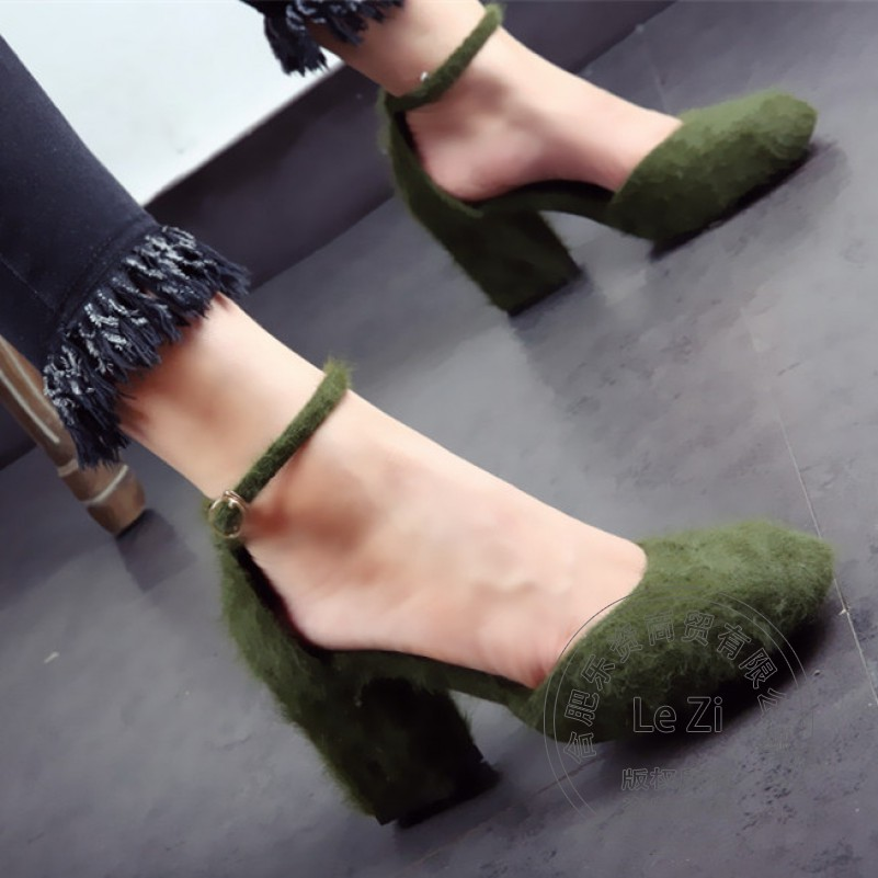 ФОТО Chunky Heel Thick Cover Fur Heels Stylish Nightclub Square Toe Ankle Wrap Pump Suede Cute Shoes Rabbit Side Hollow For Lady