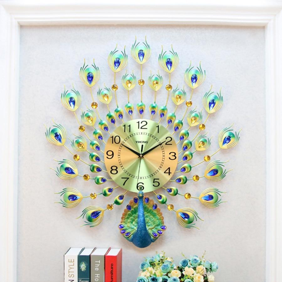 Große Digitale Uhr Wand Uhr Wohnkultur Elektronische Wanduhr Moderne Design 3D Big Rose Gold Dekoration Wohnzimmer Pfau Antik b73