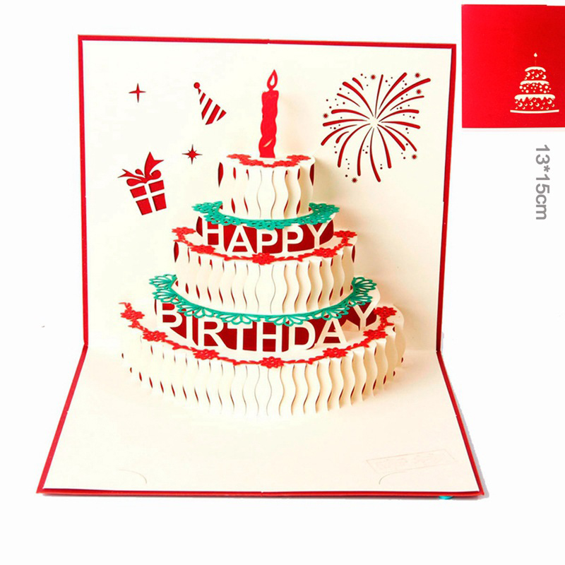 3D Pop Up Card Birthday Cake Candles Gifts Christmas Greeting Postcard Happy Best