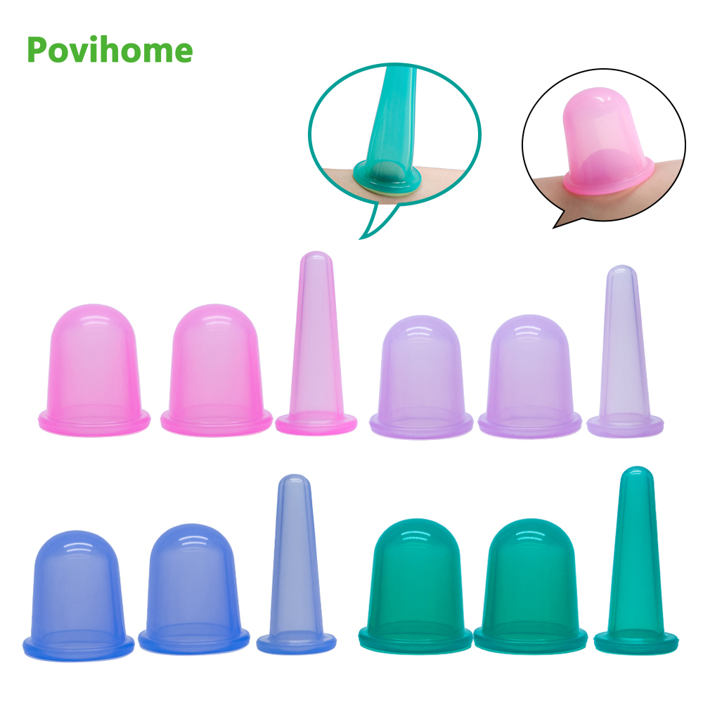 1Pcs Cup Body Anti Cellulite Silicone Vacuum Cans Neck Back Facial Massager Silicone Cupping Cups Pump Suction Health Care