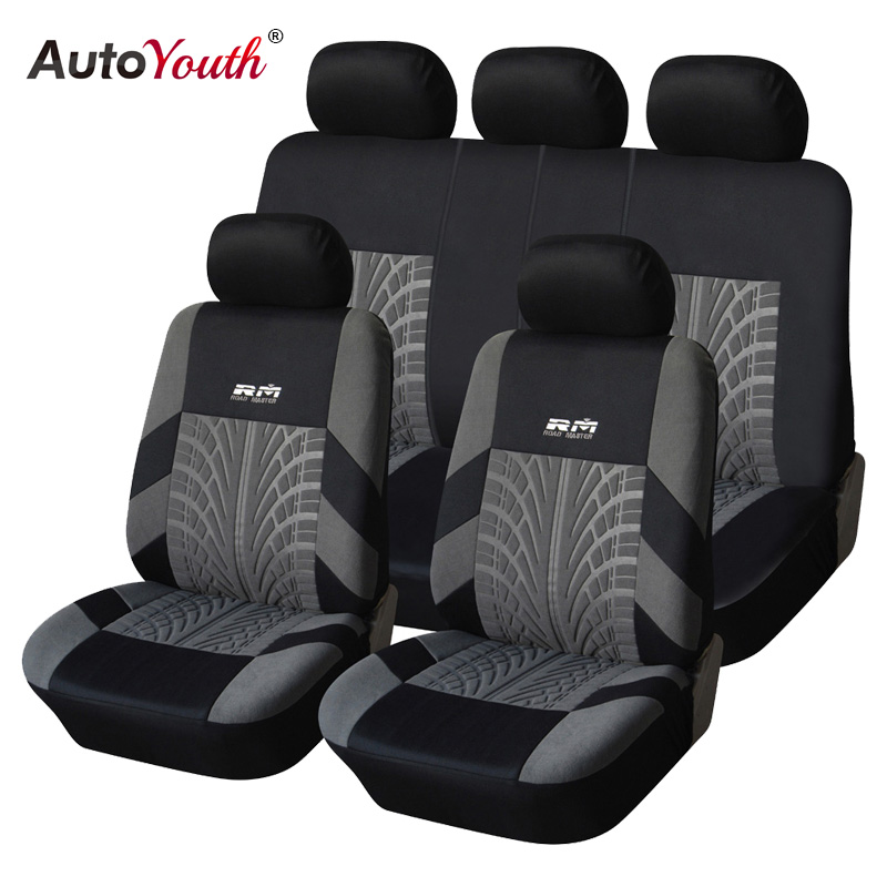 AUTOYOUTH Tyre Line Seat Covers & Supports Full Car Seat Cover Universal Auto Interior Accessories Gray Car Seat Protector autoyouth automobiles seat covers universal front and rear full set car seat cover vehicle seat protector interior accessories
