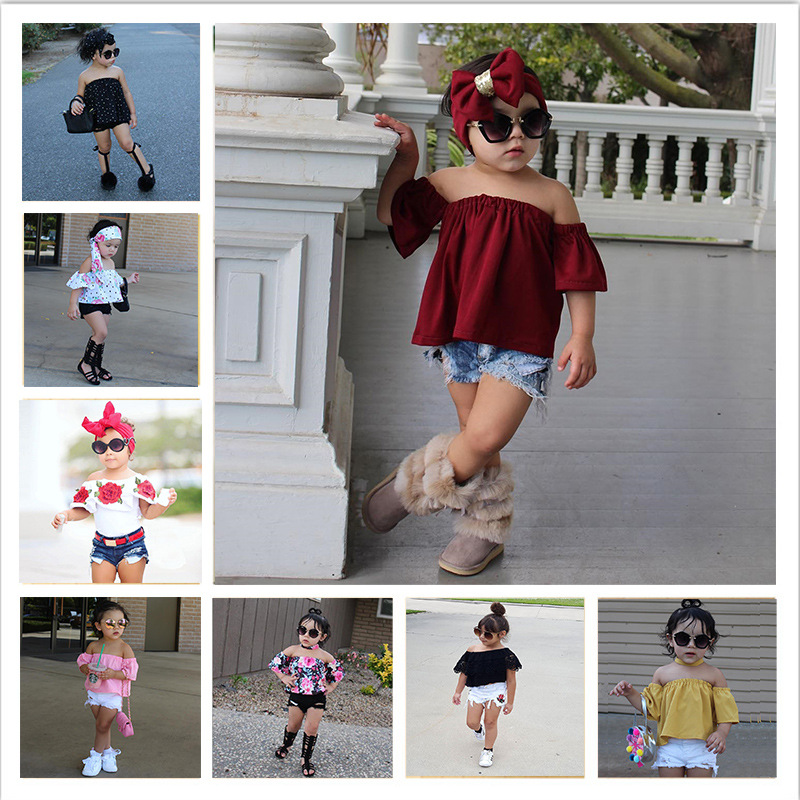 Kid Girl Set Clothes Floral Flared Off Shoulder Strapless Tops+Denim With Holes Short Pants Headband 3Pcs Fashion Clothes