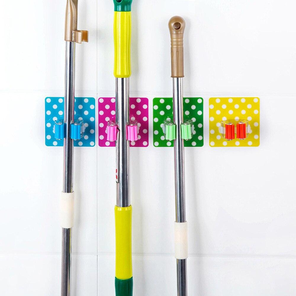 Wall Mounted Mop Holder Brush Broom Hanger Storage Rack