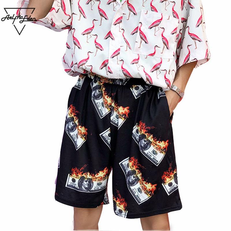 Aelfric Eden Funny Burning Dollars Shorts 2018 Summer Hip Hop Casual Streetwear Short Joggers Men Fashion Thin Beach Shorts ZY19