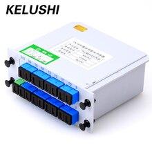 Fibra De Ramificación KELUSHI Dispositivo divisor Óptico 1×16 Caja de la Tarjeta de Inserción de la Casete PLC Divisor SC Conector de Fibra Óptica PLC
