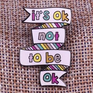 Image 1 - それはokではないokピン精神健康意識バッジうつ病自殺予防ブローチ停止沈黙ピン感情的なユダヤ人
