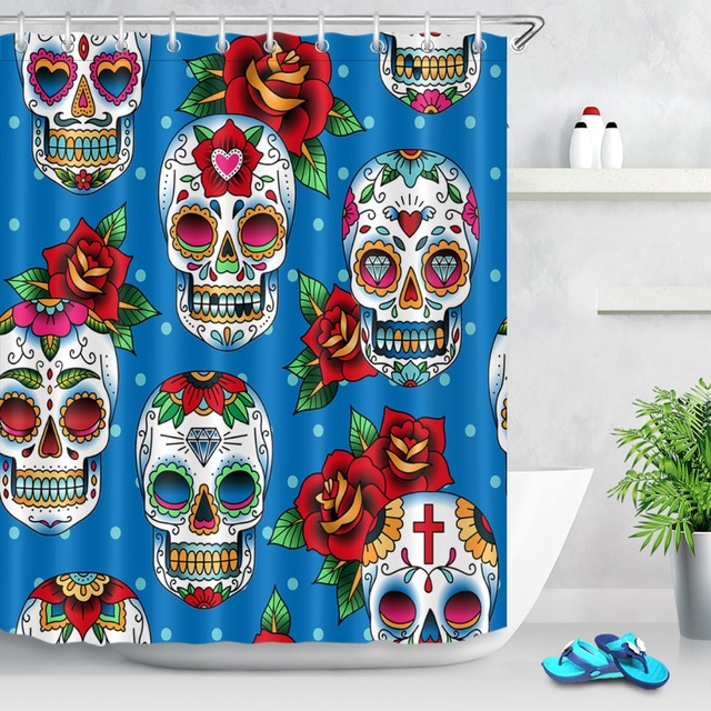 72 Sugar Skulls In Mexican Style Customized Bathroom Waterproof Fabric Shower Curtain Polyester 12 Hooks Bath Accessory Sets