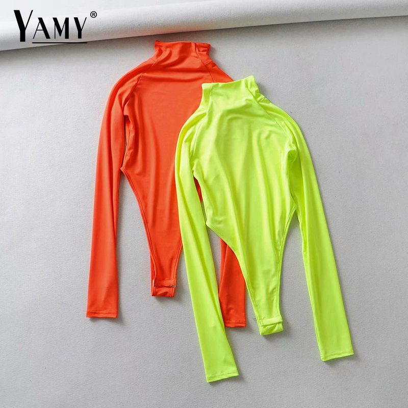 Summer Neon Bodysuit Women Orange Neon Green Bodysuit Long Sleeve Sexy Bodysuit Streetwear Body Suits For Women One Piece Outfit