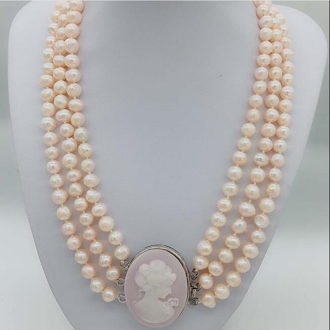 8-9mm Pink Freshwater Pearl Potato Statement Necklace Women Cameo Queen Clasp Handmade8-9mm Pink Freshwater Pearl Potato Statement Necklace Women Cameo Queen Clasp Handmade