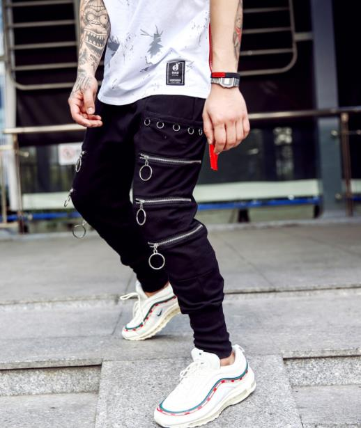 Men Boys Baggy Pants Zipper Tide Hip Hop Men's Fashion joggers harem pants Mens Loose Collapse Trousers streetwear Bottoms XXL