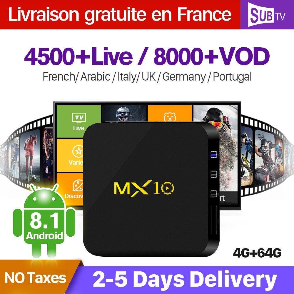 Francia IPTV Arabo Italia Belgio 1 Anno IPTV MX10 4 + 64G Francese Portogallo IP TV Abbonamento SUBTV Turchia paesi bassi IP TV
