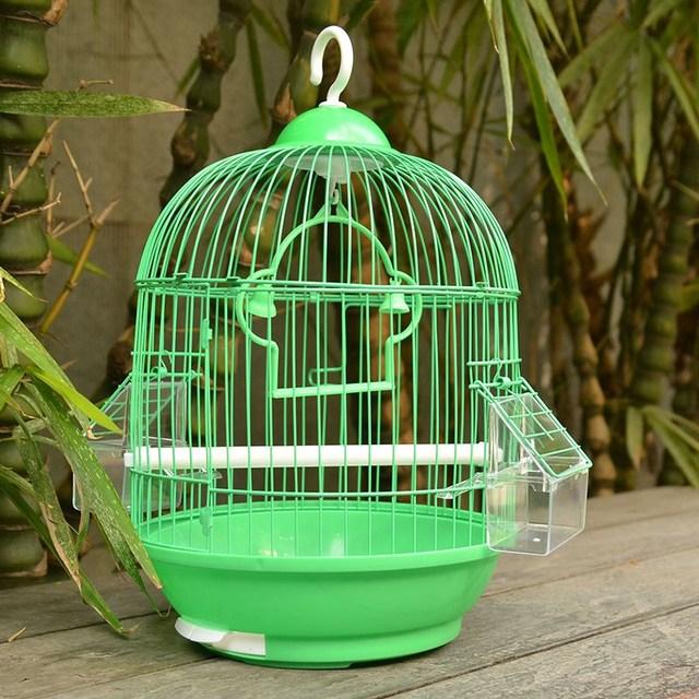 Home Small Bird Cage Round Pet Parrot Finch Hanging Birdcage Decorative Bird House Weddings Hamster Accessories Bird Nest