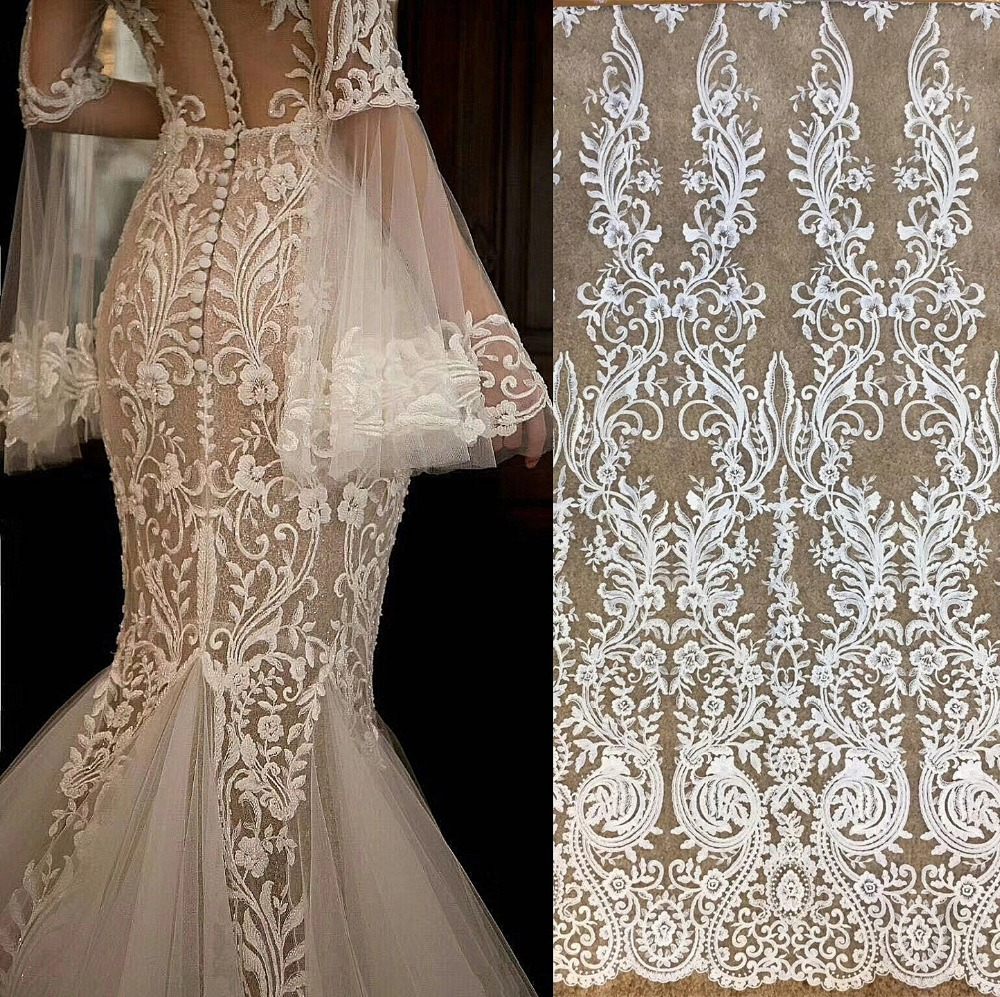 1 yard Exquisite Clear Sequin Bridal Lace Fabric heavy bead lace fabric for bridal dress embroidered