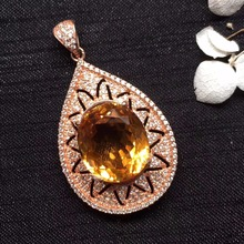 ON SALE only one real s925 silvery gems size 12*18mm real 925 silver natural citrine pendant for women pendants neckalces