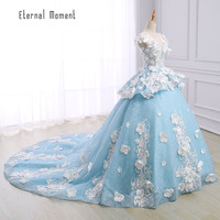 Luxury Flowers Wedding Dress 2017 Cathedral Royal Train Sky Blue Ball Gown Robe De Mariage Vestido