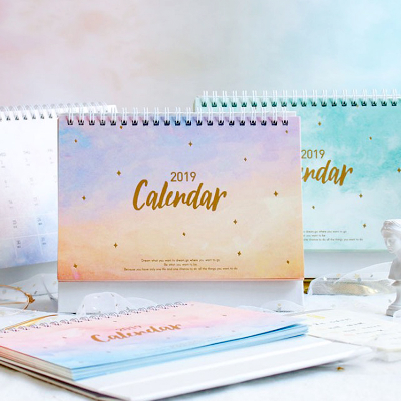 2019 años sueño cielo estrellado serie DIY calendario calendarios de mesa calendario diario planificador 2018,11 ~ 2019,12