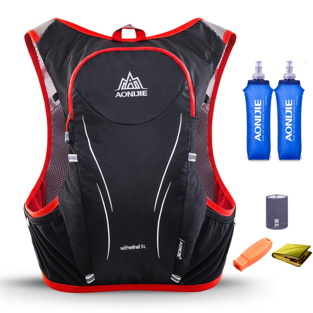 купить AONIJIE 5L Men Women Trail Running Hydration Backpack Hiking Racing Cycling Camping Pack Marathon Rucksack Bag 2 500ML Bottles недорого