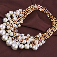 Luxury Fashion Elegant New Design High Quality Statement Collar Multilayer Pearl Chian Grape Bunches Necklaces For