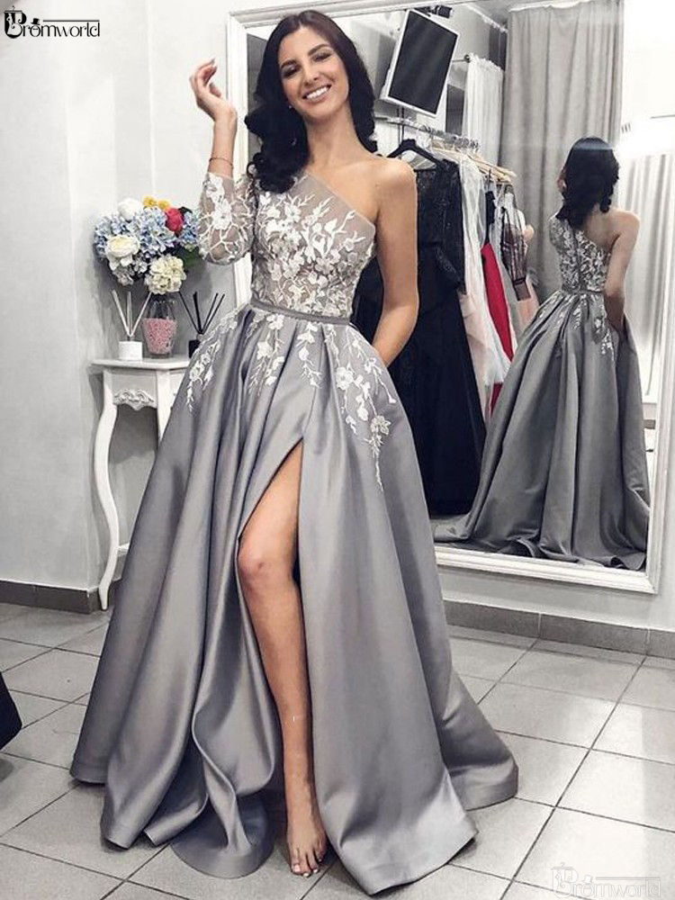 Grey Satin Evening Gown 2019 A-Line Sexy Split White Lace Long Prom Dresses With Pockets One Shoulder Long Sleeves Evening Dress