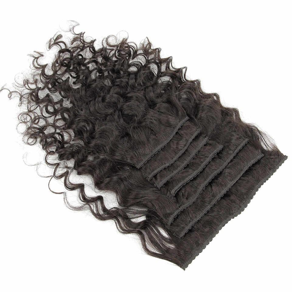 YVONNE Italienischen Lockige Clip In Menschliches Haar Extensions Brasilianische Reines Haar 7 Teile/los 120g Natürliche Farbe