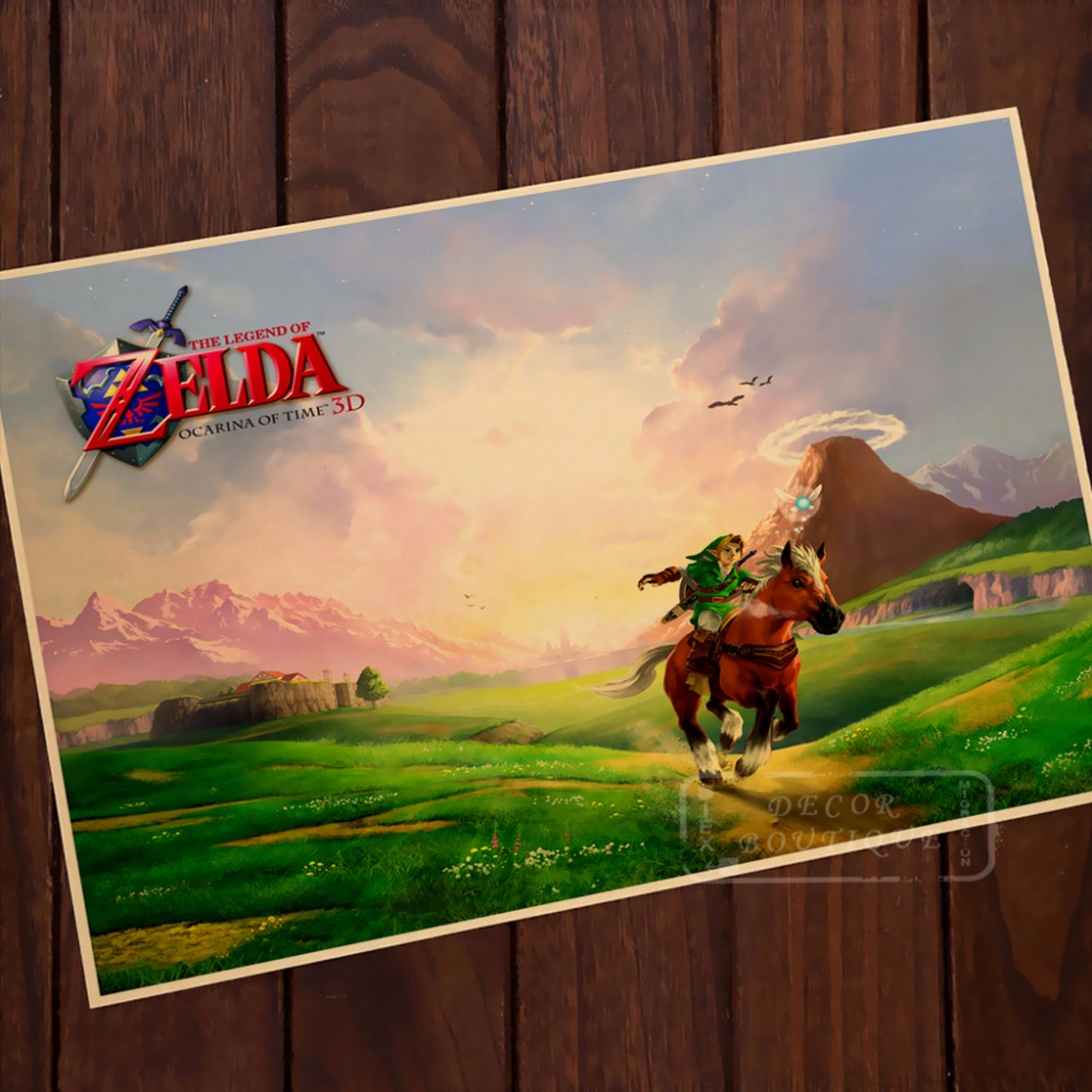 US $3 1 22% OFF|Nintendo Legend Of Zelda Ocarina Of Time Vintage Poster  Decor Online Pictures DIY Wall Sticker Home Bar Posters Decor Gift-in  Painting