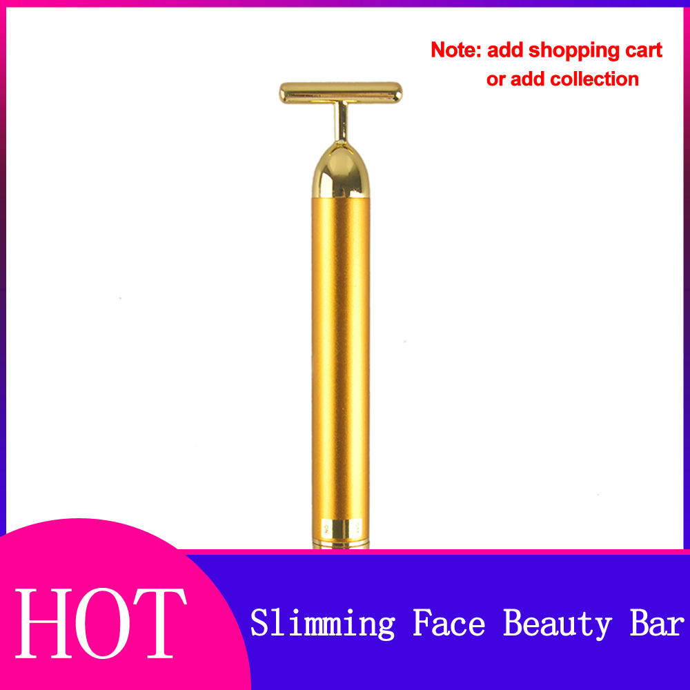 24k Gold Vibration Slimming Face Facial Beauty Bar Pulse Firming Facial Roller Massager Lift Wrinkle Stick Skin Tightening