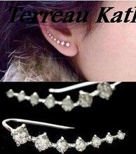 Terreau Kathy Top Quality 2016 New Four-Prong Setting 7pcs CZ Diamonds Ear Hook Stud Earrings Jewelry