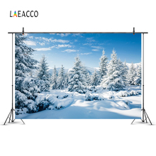 Laeacco Winter Snow Blizard Forest Pine Trees Landscape Photography Backdrops Vinyl Customs Photo Backgrounds For Studio