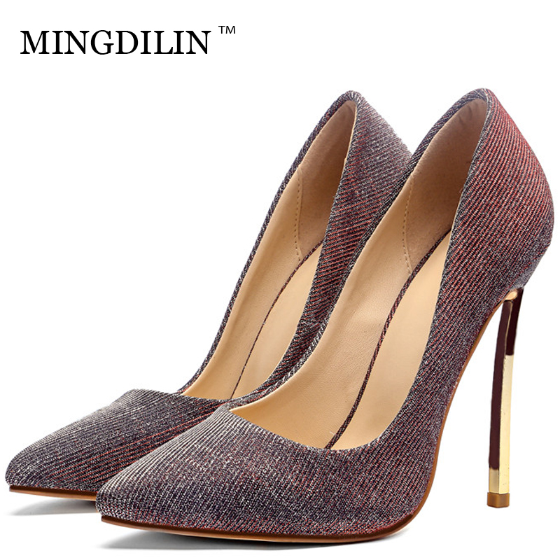 MINGDILIN Women's High Heels Shoes Sexy Woman Bridal Heel Shoes Plus Size 33 Blue Red Pointed Toe Wedding Party Pumps Stiletto mingdilin sexy women s heel shoes high heels shoes woman pumps plus size 33 43 pointed toe ping red wedding party pumps stiletto