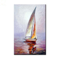 Modern Home Decor Wall Art Picture Hand Painted Sailboat Oil Painting On Canvas Handmade Acrylic Abstract