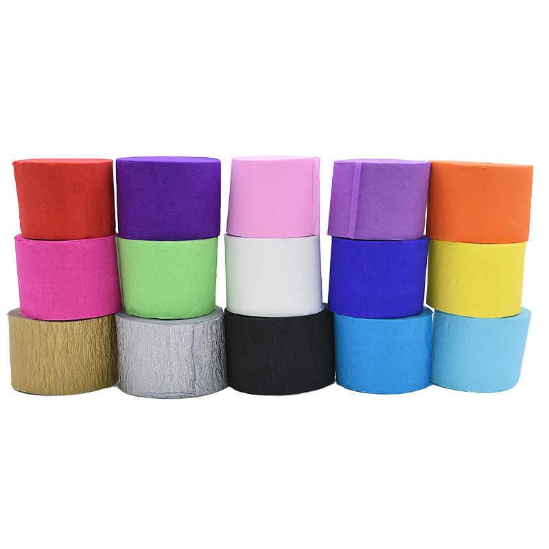 1 ม้วน 4.5 ซม. * 25 M ขายส่ง Multicolor ริ้วรอย Crepe กระดาษหัตถกรรมตกแต่ง Origami Crinkled DIY ห่อดอกไม้ห่อ decor