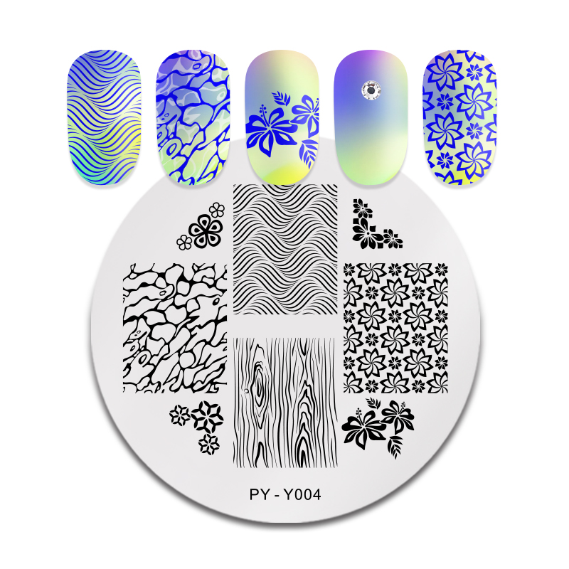 PICT YOU Round Nail Stamping Plates Flowers Plants Image Mixed Pattern Stamp Stencils Art Stencil Plate Design