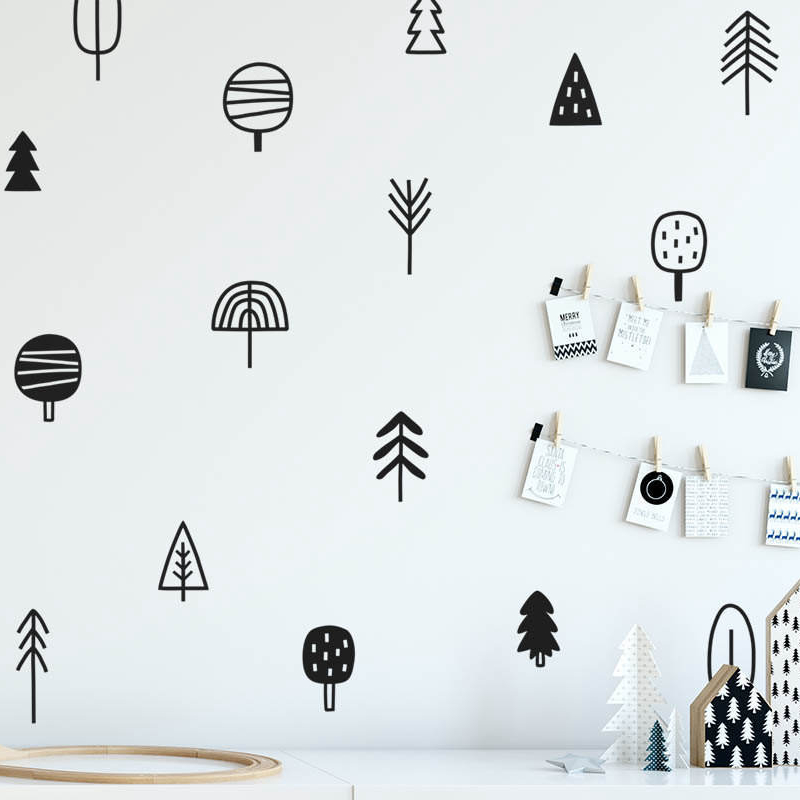 Cute Woodland Pine Tree Wall Decals Nursery Art Decor Forest Vinyl Wall Stickers Kids Bedroom Natural Decoration in Wall Stickers from Home Garden