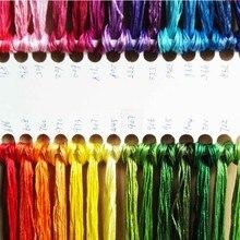 28 шт./лот, цветная шелковая нить, фиксированный цвет, как на 1 фото, вышивка крестиком того же цвета, что и DMC, нить для рукоделия, длина 8 метров, 6 нитей