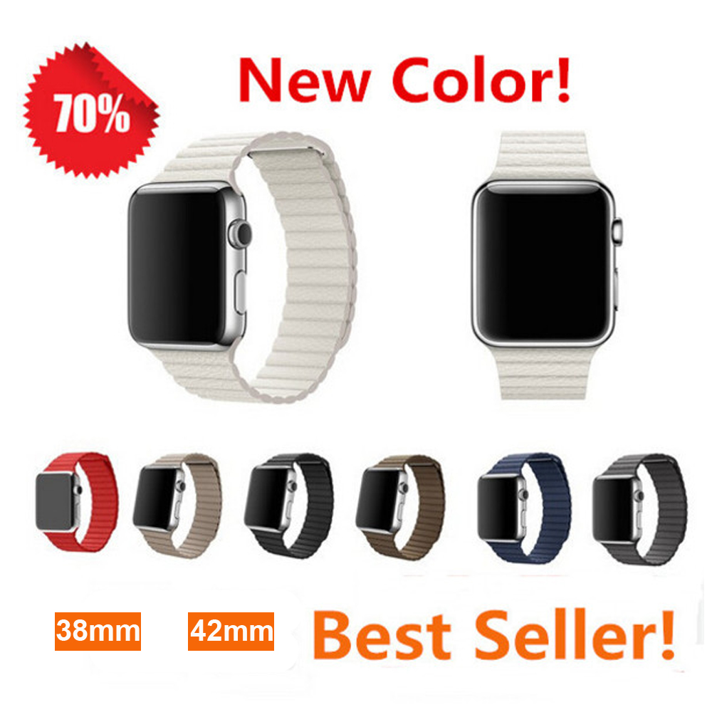 цена на leather loop band for apple watch 3 42mm 38mm bracelet watchband Adjustable Magnetic Closure leather strap for iwatch 3/2/1
