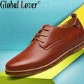 Глобальный Любовник мужчины обувь повседневная мода дышащая мужская роскошный итальянский плоским натуральная кожа дизайнер высокое качество размер 45 обувь