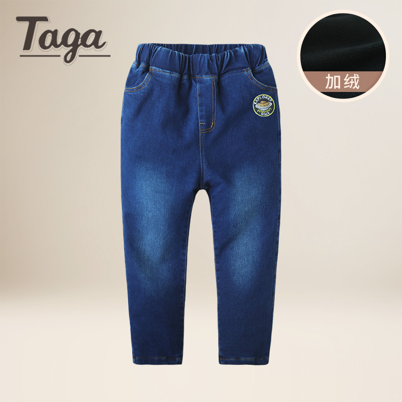 TAGA Winter Big Boys Jeans 2017 Children Denim Thick Warm Pants Casual Kids Plus Velvet Girls Jeans Boy Trousers for 1-15Y Warm 2017 retro mens jeans full length pants men casual straight fitness jeans trousers male designer loose plus big size 42 44 46 48