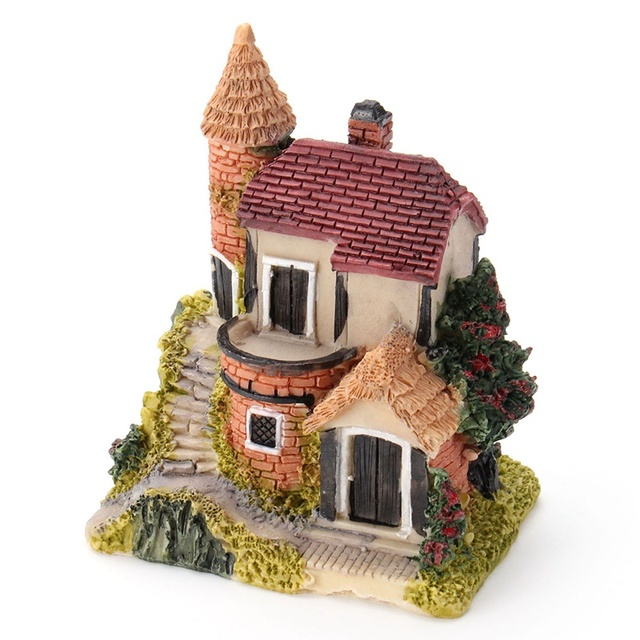 Vintage Mini Resin House Miniature House Fairy Garden Micro Landscape Home Garden Decoration Resin Crafts 4 styles Color Random 3