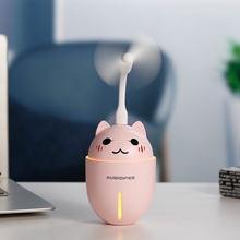 Cute Cat USB Air Humidifier with LED Light and USB Fan