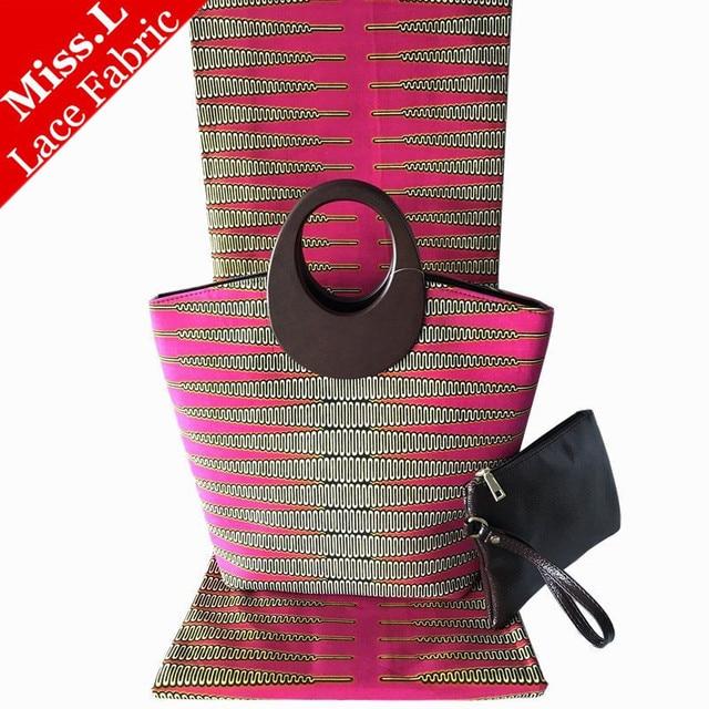 e08b1ebf4d93 2018 Hollandais Wax Handbag Set African Prints Bag With Real Dutch Wax  Hollandais Fabric 6 Yards