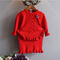 2017 Korean girls knitted skirt sets 2Piece Sets Knit Dress New autumn/Winter girl baby Jacquard Pullover flouncing suit