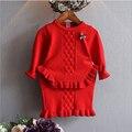 2017 chicas coreanas de punto falda conjuntos 2 unidades establece knit dress nuevo otoño/invierno de la muchacha del bebé jacquard pullover volante traje