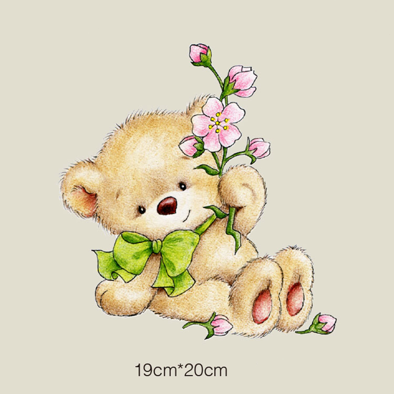 DoreenBeads New Lovely Bear Patch T-shirt Press Sticker Washable Iron On Transfers Patches For Kids Children T Shirt Bag 19x20cm