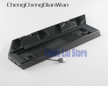 ChengChengDianWan Black Vertical Stand Cooling Fan with Dual Charging Station for PS4 Slim Console + Dual USB HUB Ports 10pcs