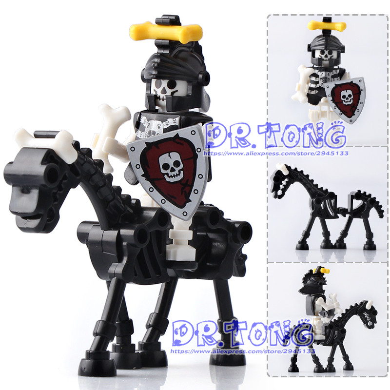 DR.TONG 20PCS/LOT Medieval Castle Knights Rome Knights Skeleton Horses The Lord of the Rings Building Bricks Blocks Toys Gifts 1 leader 16pcs lot medieval knights xh645 crusader rome commander super hero building blocks toys children gifts x0164