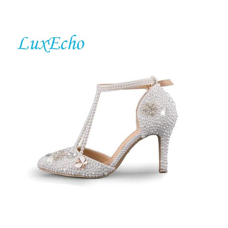 Chaussures d'été perle 8 cm talon bout pointu chaussures de mariage mariée boucle cheville parti Robe chaussures D'été femme sandales grand taille